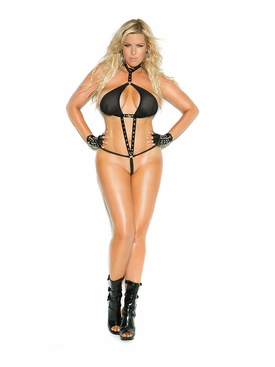 Plus Size Elegant Moments V2252X Vinyl & Fishnet Halter Teddy
