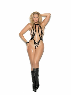 Plus Size Elegant Moments V2267X Vinyl Halter Teddy