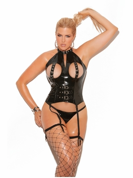Plus Size Elegant Moments V3147X Vinyl Cupless Bustier