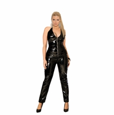Plus Size Elegant Moments V9216X Deep V Vinyl Catsuit