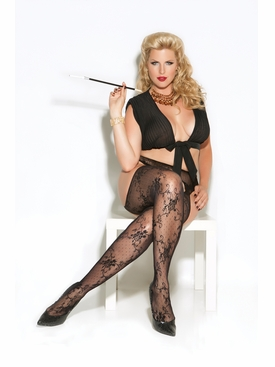 Plus Size Lace Suspender Pantyhose