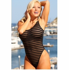 Sheer Stripes Double Dip One Piece Swimsuit to Size 22