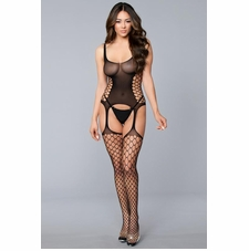 Plus Sleeveless Bodystocking With Side Cut-Outs