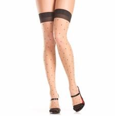 Polka Dot Nude Thigh Highs With Cuban Heel