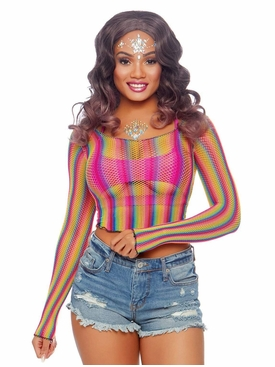 Rainbow Fishnet Long Sleeved Crop Top