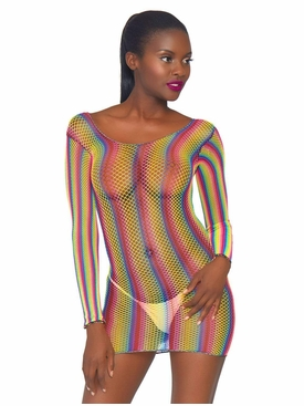 Rainbow Fishnet Long Sleeved Mini Dress