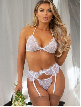 Rhinestone Eyelash Lace Bra Set