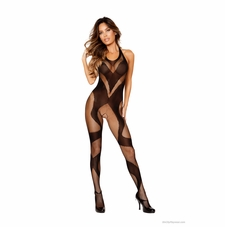 Roma Li200 Black Ribbon Design Fishnet Bodystocking