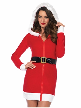 Santa Dress With Fur Trimmed Hood