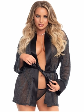 Satin Trimmed Shimmer Sheer Lurex Robe