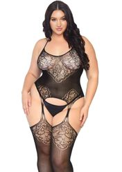Seamless Lace Jacquard Net Bodystocking