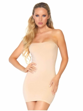Seamless Opaque Microfiber Bodycon Tube Dress