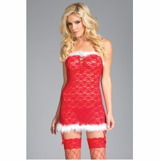 Semi Sheer Lace Chemise With Feather Trim