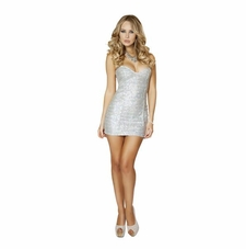 Sequin Mini Dress In Gold Or Silver