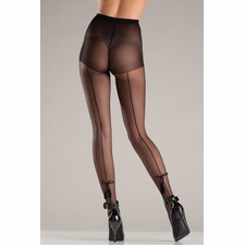 Sheer Back Seam Pantyhose With Tassel Bow Design