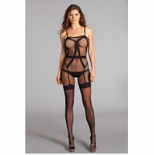Sheer Bodystocking With Mock Strapping Design