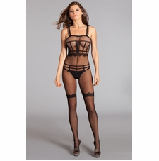 Sheer Bodystocking With Ruffle Shoulder Straps