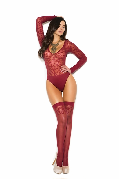 Elegant Moments 1358 Sheer Burnout Teddy W/Stockings