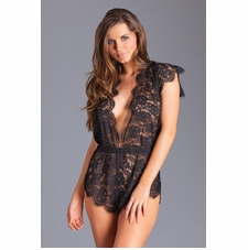 Sheer Lace Teddy With Scallop Trim