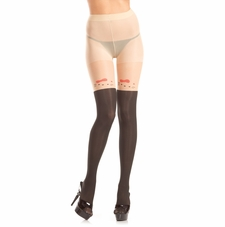 Sheer Pantyhose With Kitty Design On Thigh