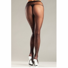 Sheer Pantyhose With Rhinestones Down Back Seam