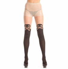 Sheer Pantyhose With Skull & Crossbones On Thigh