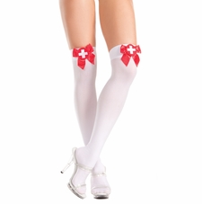 Sheer Thigh Highs With Satin Ribbon And White Cross Patch