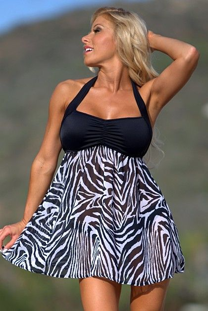 ad53b5714d Ujena High Fashion Zebra Swim Dress