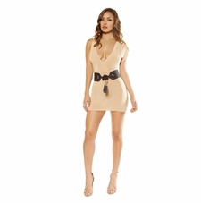 Single Sleeved Mini Dress with Low Cut Neck