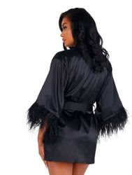 Soft Satin Robe with Feathered Trim
