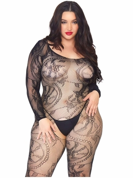 Spiral Lace Off The Shoulder Bodystocking