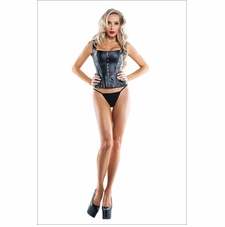 Wet Look Corset With Grommet Details