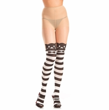 Stripe Opaque Pantyhose With Cat In Bowtie Design