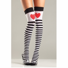 Striped Thigh Highs With Red Hearts
