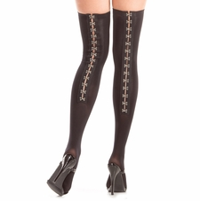 Thigh High Stockings With Hook & Eyes On Back Seam