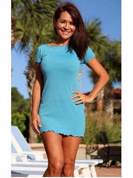 Turquoise Ribbed Cardigan Cafe Dress