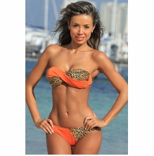 Twist Tie Bandeau Bikini Bathing Suit