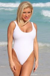 Ujena A115 Sexy White Double Dip One Piece Swimsuit Size 4