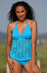 Ujena Festival Open-Back Tankini Bathing Suit