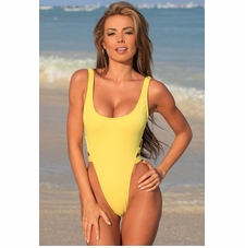 Ujena High Cut Double Strap One Piece Sexy Swimsuit