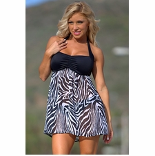 Ujena High Fashion Zebra Swim Dress
