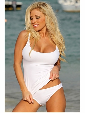 La Lola White Tankini Bathing Suit