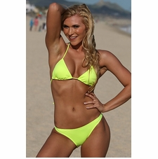Ujena Neon Lemon Lime Hi-Cut Brazilian Bikini Bathing Suit