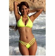 Ujena Neon Lemon Lime Strappy Bikini Bathing Suit