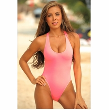Ujena Neon Sheer One Piece Sexy Bathing Suit
