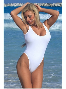 Sexy White Double Dip One Piece Swimsuit