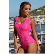 Ujena Sheer French Lace One Piece Sexy Bathing Suit
