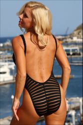 Sheer Stripes Double Dip One Piece Bathing Suit to Size 22