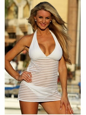 Sheer Stripes Swim Dress Swimsuit