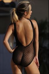 Ujena French Dot Sheer One Piece Bathing Suit